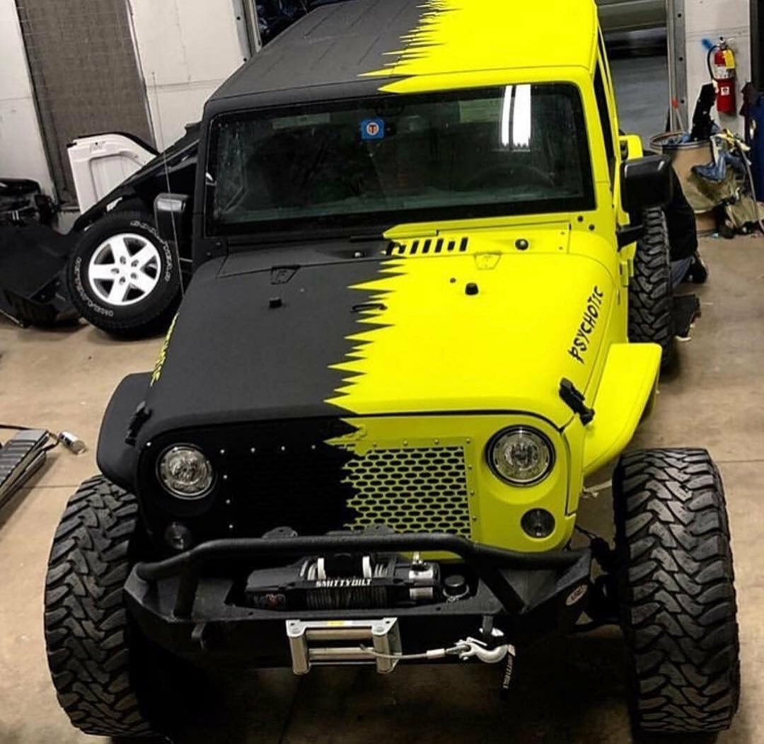 yellow and black jeep psychotic