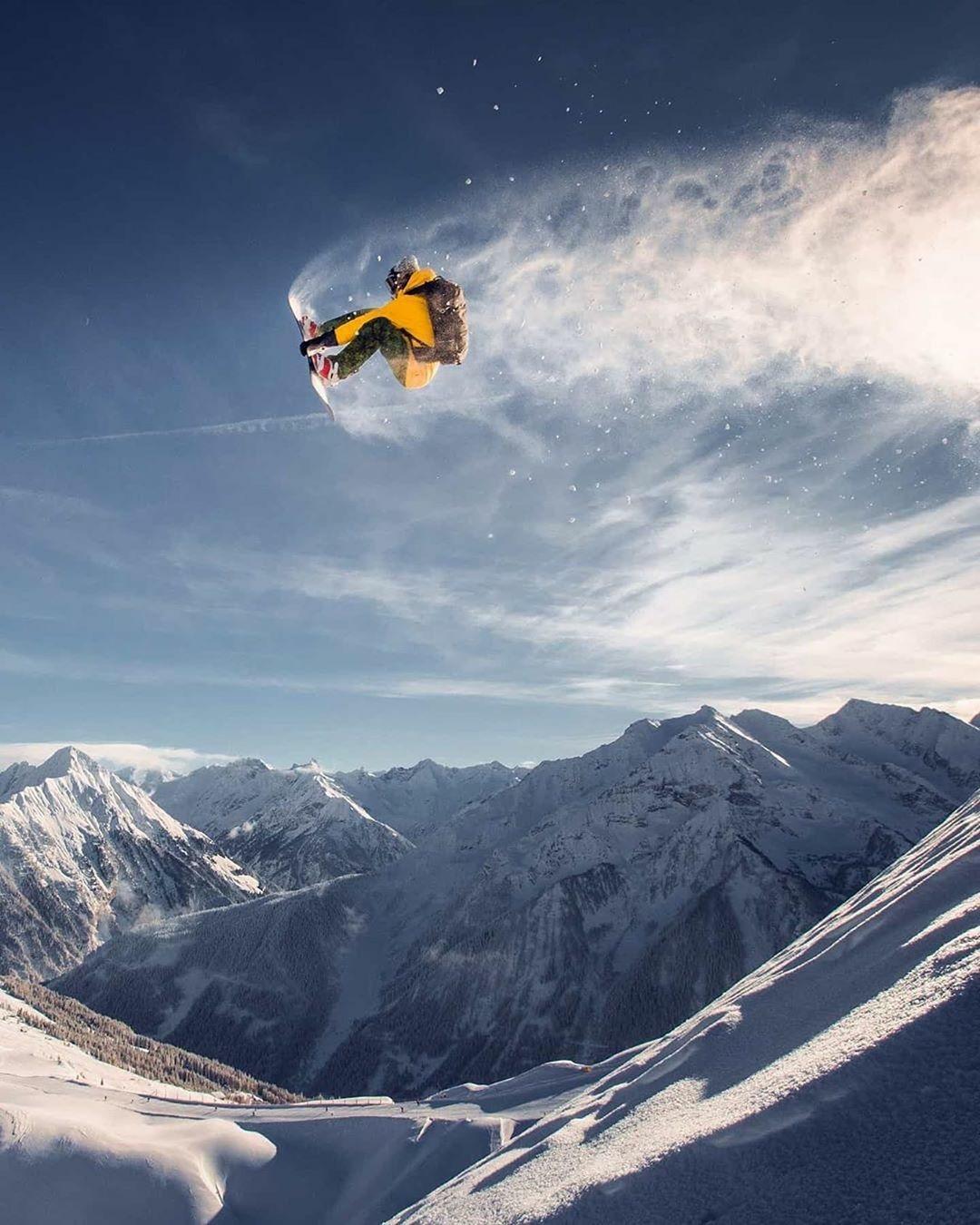 snowboarder getting big air