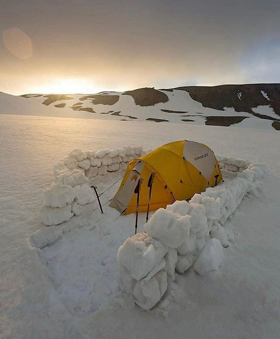 tent surrounded by igloo walls