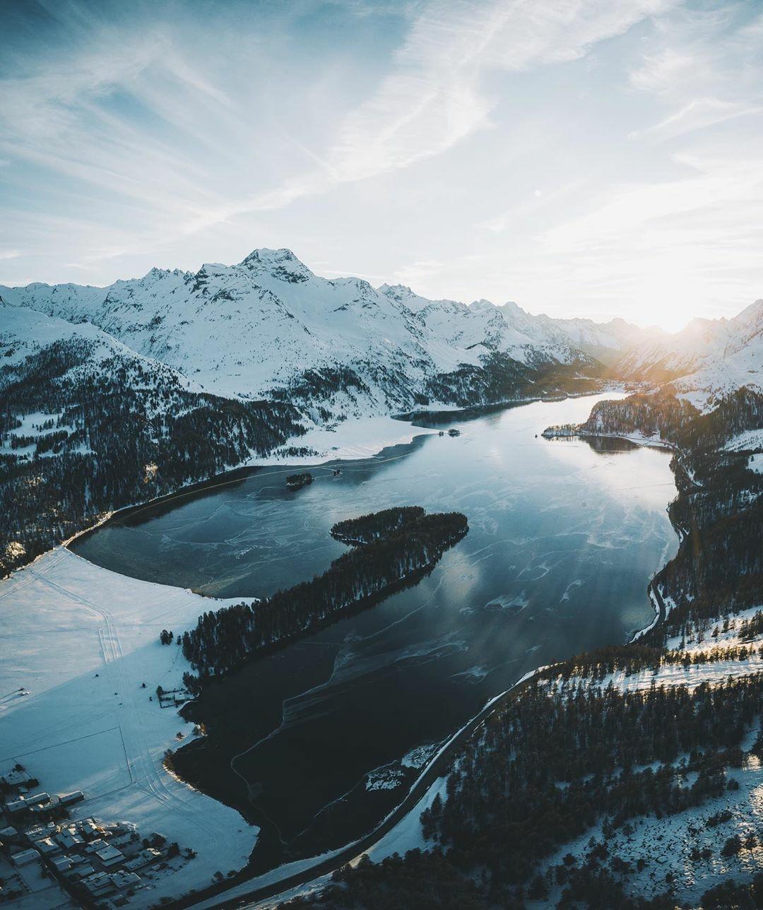 mountain lake snow