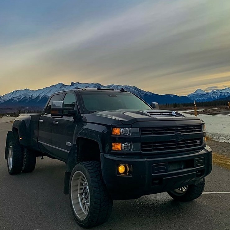chevy truck with mountains in background
