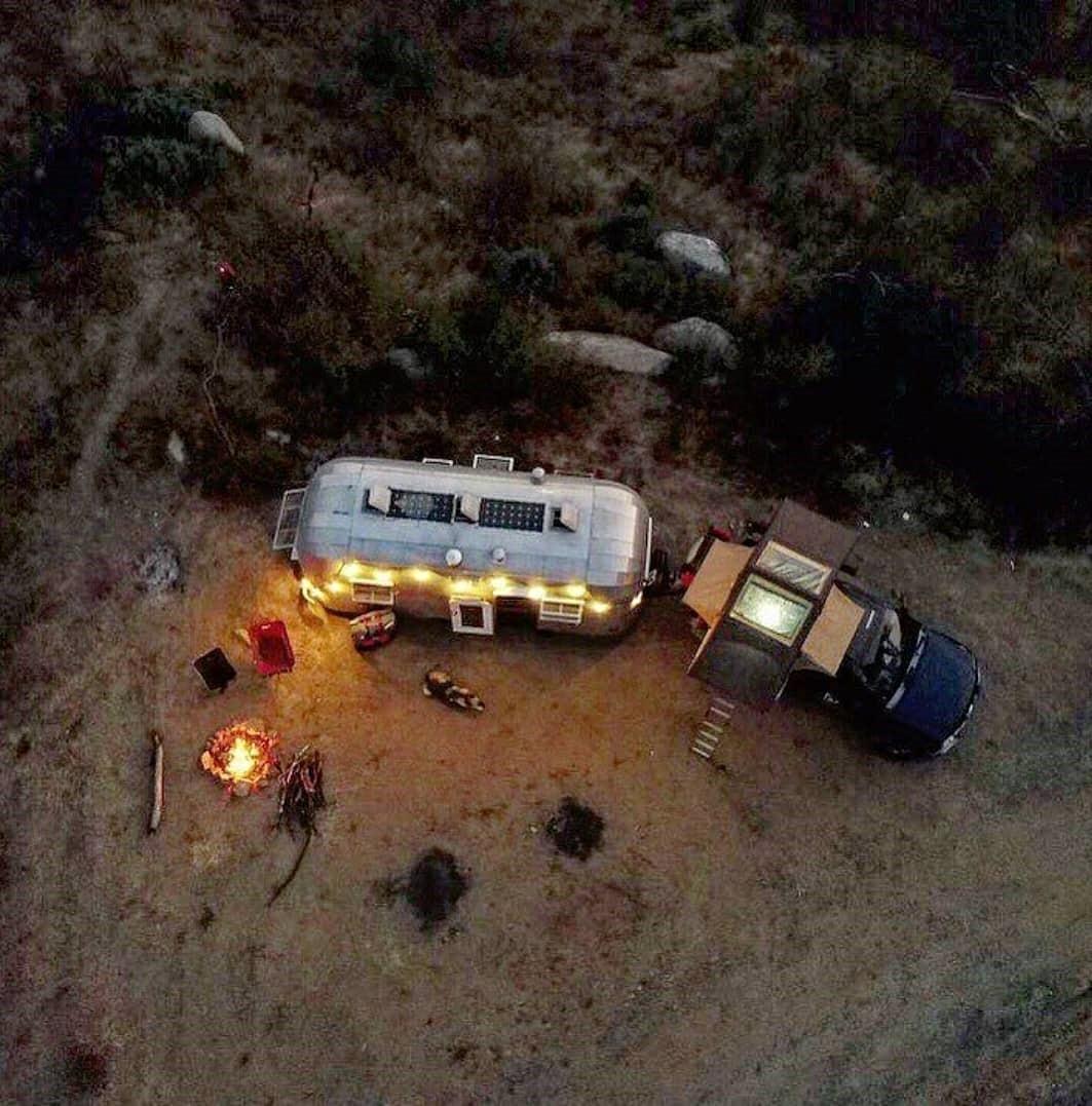 overhead shot of campsite