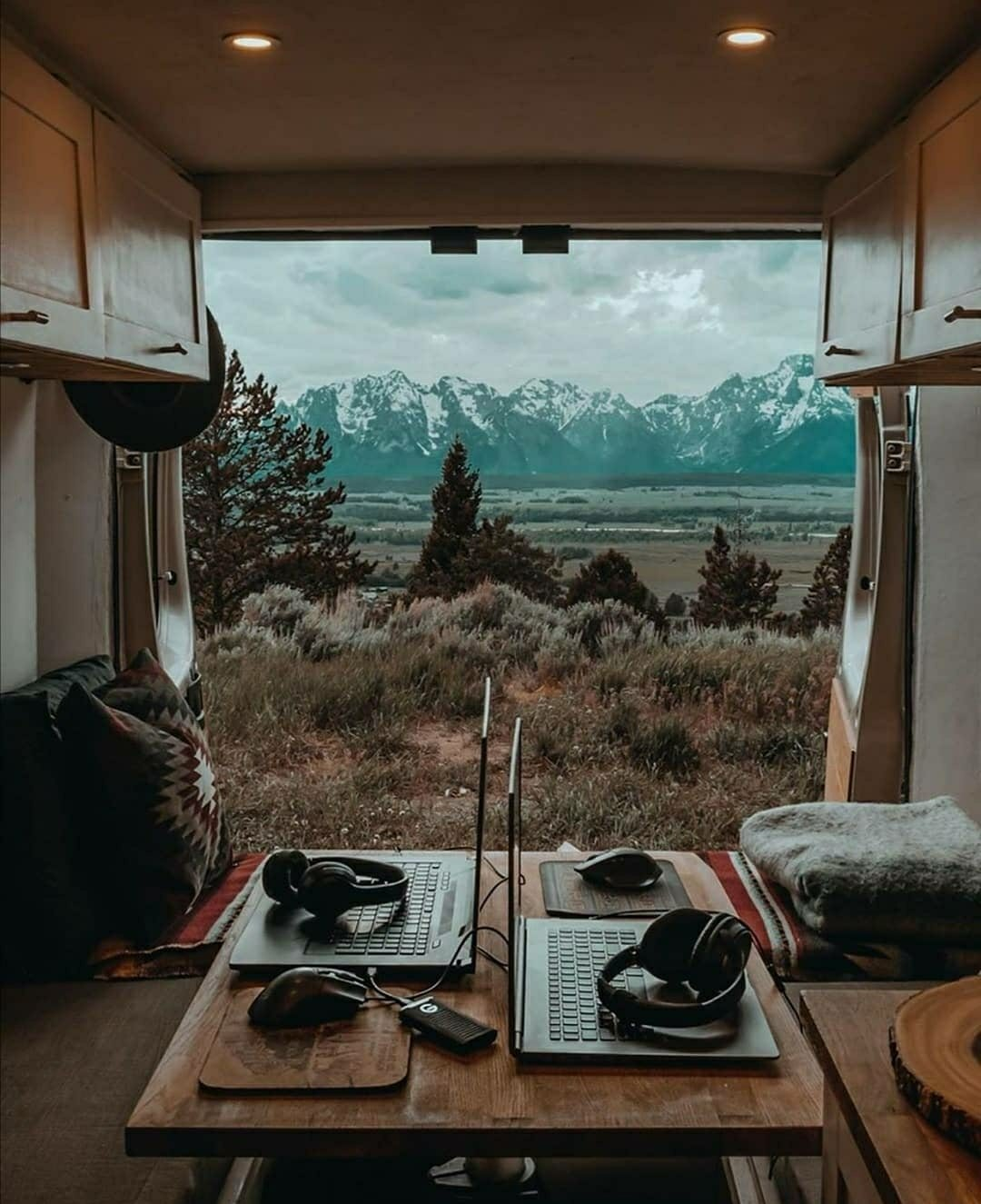 nomad camper in wilderness