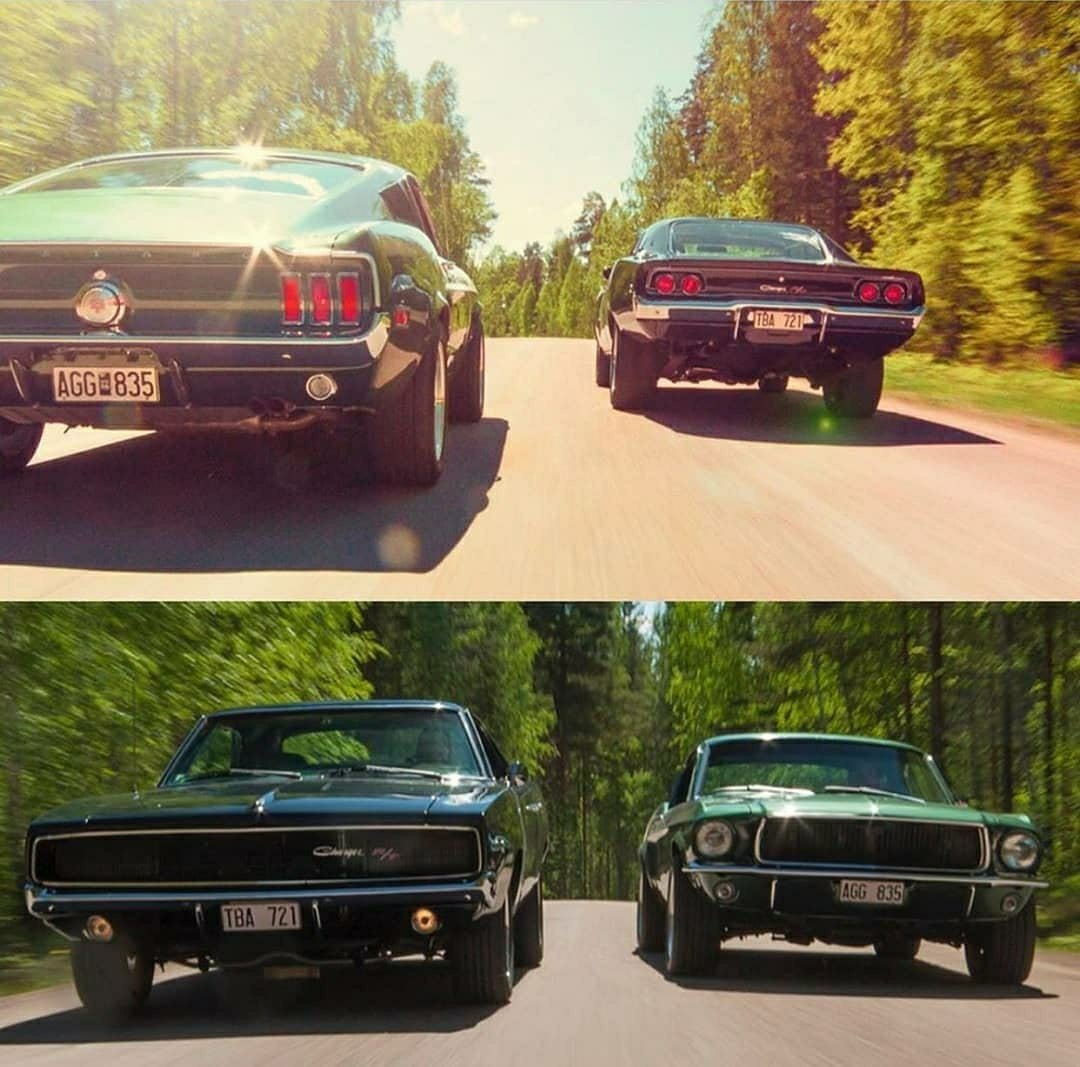 ford and dodge muscle cars side by side