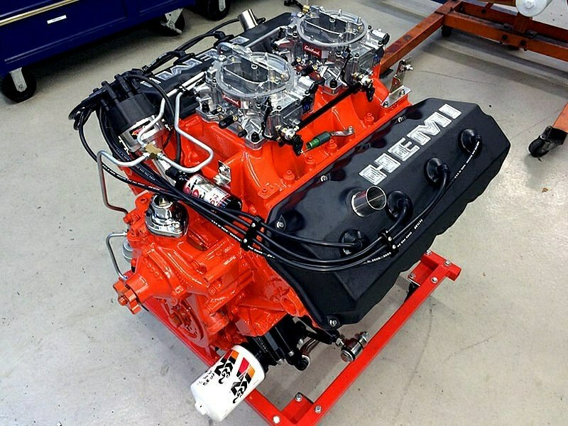 red and black hemi crate engine