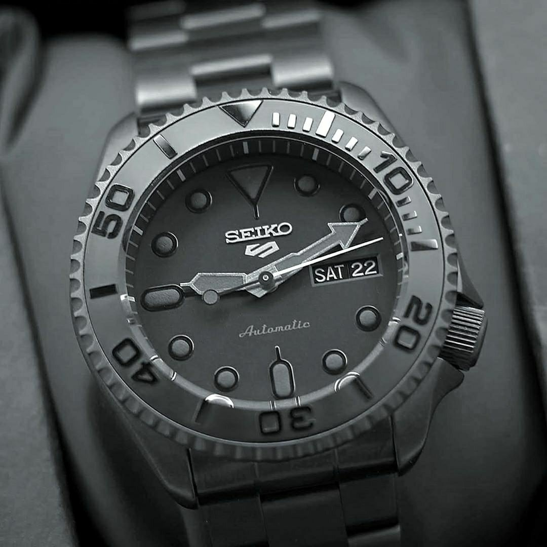 black Seiko men's watch