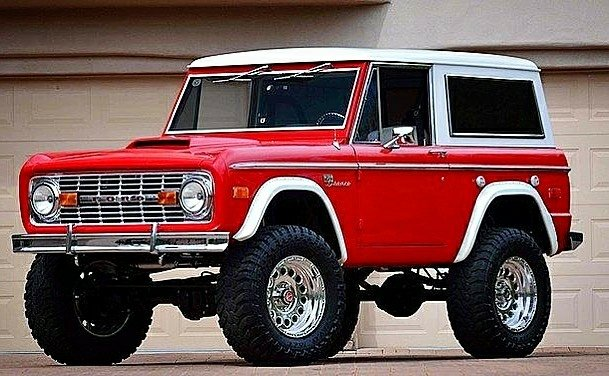 classic red Ford Bronco