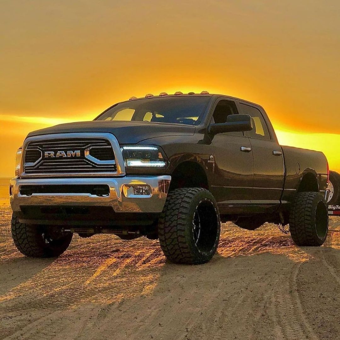 big dodge ram truck and sunset