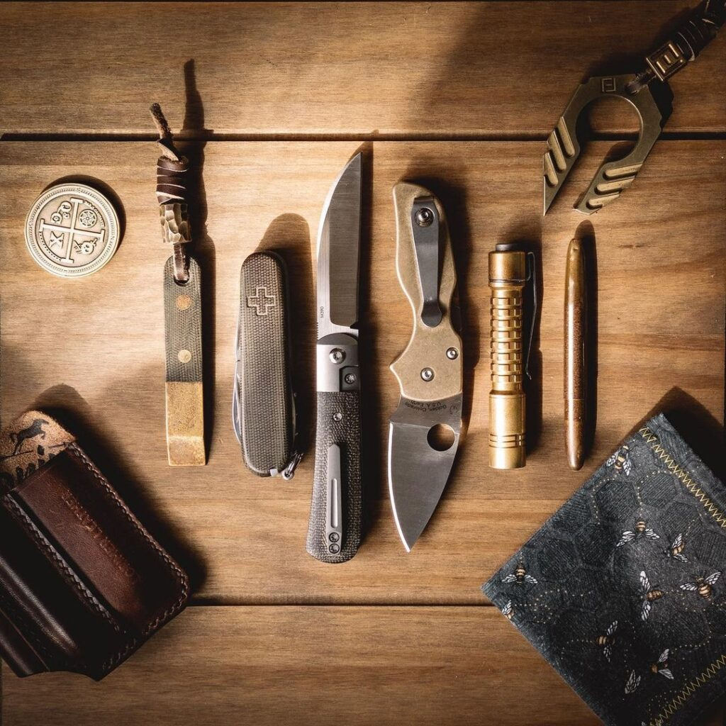 rustic edc with knife and coin